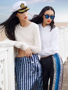 """Shu Pei & Tian Yi in """"Sea Breeze"""" Photographed by KT Auleta & Styled by Yoyo Yao for Vogue China, January 2014 Fashion In, Vogue Fashion, Korean Fashion, Latest Fashion, Vogue China, Dressy Outfits, Summer Outfits, Nastya Kusakina, Catherine Mcneil"""