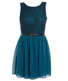 Turquoise (Blue) Turquoise Belted Lace Skater Dress | 259124148 | New Look