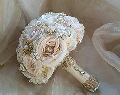 Ramo de oro rosa, broche ramo, Blush oro marfil y oro de Rose Bouquet, Bouquet de bodas de oro, oro Jeweled del ramo, DEPÓSITO
