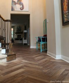 Wood tiles floors in herringbone pattern. Great for a kitchen/entry/bath/whole bottom floor with radiant heat. Mmmmm  dana frieling tile floors