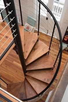 The Bradley (Custom Railing Spiral Stairs) Spiral Staircase Kits, Spiral Stairs Design, Loft Staircase, Home Stairs Design, Staircase Remodel, Staircase Railings, Interior Stairs, House Stairs, House Design