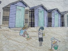 Three By The Sea Embroidery Art, Machine Embroidery, Beach Huts, Adam And Eve, Textile Artists, Mixed Media Collage, Applique, Wedding Portraits, Textiles