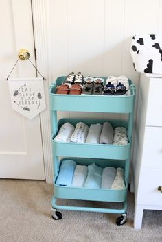 Ikea Cart to Organize and Store Baby Items in the Nursery - so functional and chic!