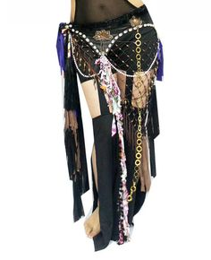 New Tribal Belly Dance Hip Scarf Belt with multicolor fringes with shells