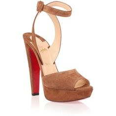 Christian Louboutin Louloudancing 140 Tan Suede Sandal ($750) ? liked on  Polyvore featuring shoes