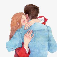 Ens fonem en una gran abraçada / Nos fundimos en un gran abrazo / We melted into a hug Cute Couple Drawings, Cute Couple Cartoon, Cute Couple Art, Paar Illustration, Couple Illustration, Image Couple, Drawn Art, Illustrations, Anime Love