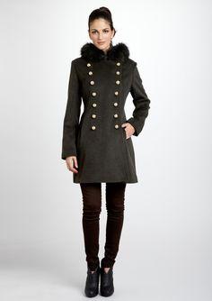 HILARY RADLEY  Wool Military Inspired Fur Collar Coat  $129.99