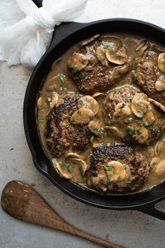 Salisbury Steak with Mushroom Gravy - Juicy steaks with my little tip for extra flavourful gravy!