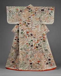 Outer Robe (Uchikake) with Chrysanthemum and Wisteria Bouquets. Period: Edo period (1615–1868) Date: second half of the 18th–first half of the 19th century Culture: Japan Medium: Silk and metallic-thread embroidery on resist-dyed and painted silk satin damask (rinzu) Dimensions: Overall: 72 x 49 1/2 in