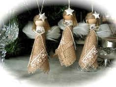 Christmas Burlap Ornaments set of by on Etsy Burlap Ornaments, Burlap Crafts, Diy Christmas Ornaments, Christmas Projects, Handmade Christmas, Holiday Crafts, Angel Ornaments, Burlap Christmas, Christmas Angels