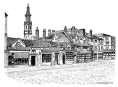 Briggate - Briggate, one of the principal shopping streets in the city was first developed in 1207 when Maurice Paynel issued a charter in order to develop a new Leeds as opposed to the old vill on Kirkgate. In the background is the tower of Trinity Church. Robert Chantrell was called to design this when the original wooden spire was blown down in a hurricane in January 1837.