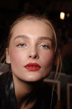 love this look: natural eyes, flushed cheeks, and bold red lips