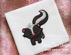 Skunk 215 Applique with Square Diagonal Stitching    Comes in 6x10, 5x7 and 4x4 sizes    xxx, pes, vip, hus, sew, jef and dst