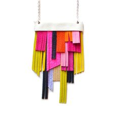 Neon Bib Necklace Hot Pink Necklace Leather by BooandBooFactory