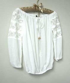 White Lace Boho Mexican Peasant Blouse, Beach Gypsy Style 3/4 Sleeve Tunic Shirt Top - Thumbnail 2