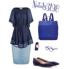 blue school outfit, casual with class. by nataly3198 on Polyvore featuring polyvore fashion style Love Sam Paige Denim Chloé FOSSIL Nixon Starling Eyewear