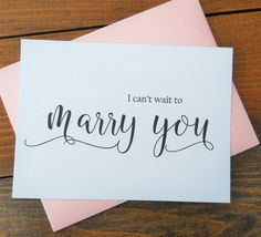 I CAN'T WAIT to Marry You Card, Shimmer Envelope, Wedding Note Card, To My Bride Card, To My Groom Card, Wedding Stationery