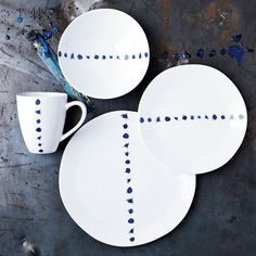 Shop blue splatter dinnerware set from west elm. Find a wide selection of furniture and decor options that will suit your tastes, including a variety of blue splatter dinnerware set. Hand Painted Plates, Decorative Plates, Painted Ceramics, Ceramic Plates, Ceramic Pottery, Eclectic Dinnerware, Blue And White Dinnerware, Blue And White China, Decoration Table