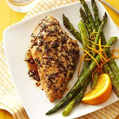 Tart balsamic vinegar and orange zest liven up this simple chicken and asparagus recipe. Plus, it has only 8 grams of carb per serving and provides healthy doses of potassium, vitamin A, and folate. Complete the meal with a side of brown rice, quinoa, or fresh fruit.