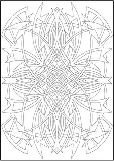 Colouring-in page - sample from 'Stained Glass' book via Dover Publications ~s~
