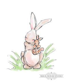 Springtime Bunnies Illustration 8x10 Print by BrickHouseStudio, $12.00