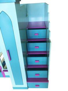 Kids-Childrens-Themed-Frozen-Bed-Blue-Pink-Bunk-Bed-Storage-Steps-Castle