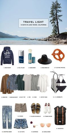 cool 12 lake Tahoe summer vacation outfits + packing list to keep you organized