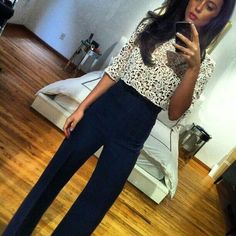 High wasted pants with a lace top