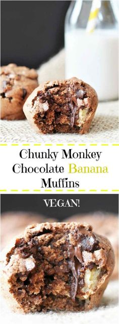 Chunky Monkey Chocolate Banana Muffins! This vegan muffin recipe is filled with chocolate and bananas. The perfect morning or afternoon treat. www.veganosity.com