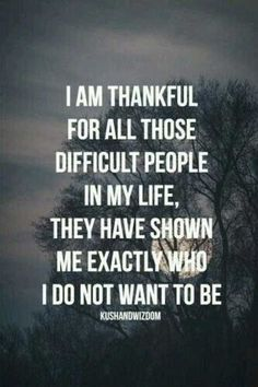 """I am thankful for all those difficult people in my life, they have shown me exactly who I do not want to be."" Love this inspirational quote and reminder to be the kind of person you admire."