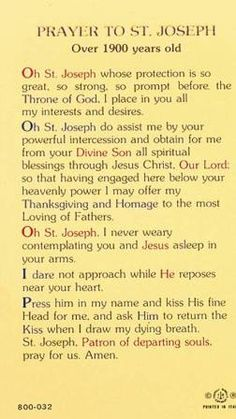 Prayer to St. Joseph - I say this prayer every morning