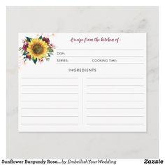 Sunflower Burgundy Rose Lights Recipe Cards Couple Shower, Rustic Lighting, Light Recipes, Recipe Cards, Wedding Couples, Cooking Time, Bridal Shower, Floral Design, Burgundy