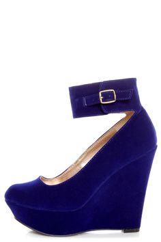 daf7c8e67aa Qupid Worthy 90 Royal Blue Velvet Ankle Strap Platform Wedges
