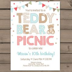 Free Printable Teddy Bear Picnic Invites Teddy bear Picnics and
