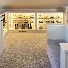 Light Gray Closet Island with White Metallic Cowhide Rug - Transitional - Closet Staining Wood Floors, Dark Wood Stain, Leopard Carpet, Closet Island, Tile Stairs, Attic Closet, Custom Closets, Interior Decorating, Interior Design