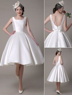 1950 style wedding dresses | Tea Length Wedding Dress Short Satin Gown Sleeveless Backless All ...