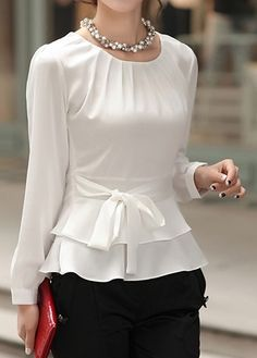 Layered Long Sleeve White Tie Front Blouse | Rosewe.com - USD $31.86