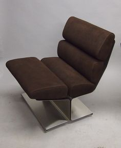 Francois Monnet; Stainless Steel and Suede Chair, 1970s.