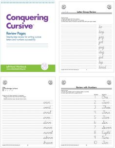 Review Pages for left-handers! Student practices writing letters within letter groups; lower case letters are practiced first, followed by upper case letters and then numerals; student works through additional handwriting drills on specific review pages, such as connecting o-to-m and o-to-n, bridge letters b o v w, 26 synonym pairs, days of the week sentences and practice lines. Comprehensive Review! #handwriting #cursive #lefthand