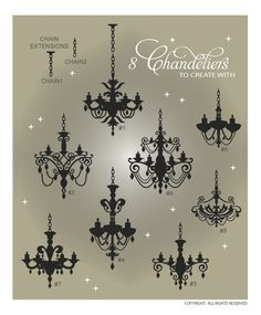 DOWNLOADABLE CHANDELIER VECTOR ART ... vinyl wall graphics that are perfect for home decor @ My Vinyl Designer (http://www.myvinyldesigner.com/Products/chandeliers.aspx)