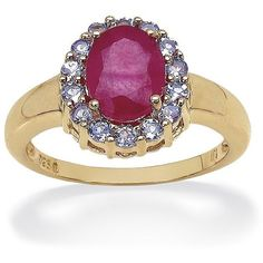 PalmBeach Jewelry 2.50 CT Oval-Cut Ruby And .49 CT Round Tanzanite... ($130) ❤ liked on Polyvore featuring jewelry, rings, red, gold cocktail ring, tanzanite ring, cocktail rings, sterling silver cocktail rings and red gold ring