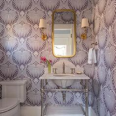 Purple Powder Room with Marble Washstand