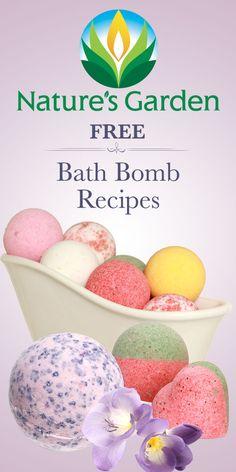 Free bath bomb recipes from Natures Garden. #bathbombs