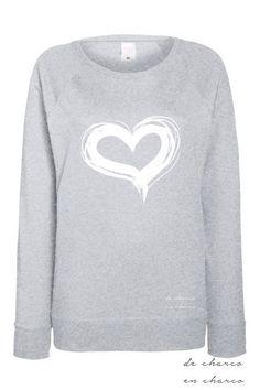 Sudadera mujer manga larga Corazón en gris, blanco y azul marino de…