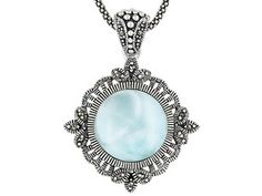 Tillya Treasures(Tm) Round Cabochon Larimar And Marcasite Sterling Silver Pendant With Chain