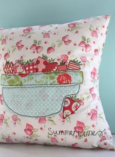summertime strawberry cushion cover by thefloralsuitcase on Etsy