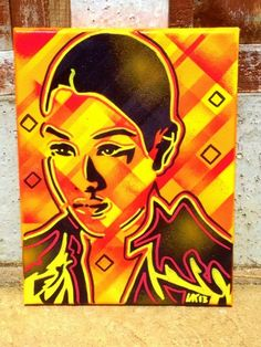 abstract painting of asian woman on canvas,urban,street art,pop art,stencils & spraypaints,android,sci fi,home,living,gift,stripes,graphics