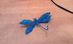 Dragonfly, Blue, Sead beads, wire