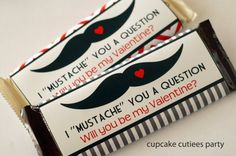 Mustache  Valentine's Day -Candy Wrappers  Digital  Party Printable- U pRiNt