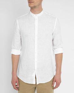 ARMANI COLLEZIONI White Mandarin Collar Linen Shirt